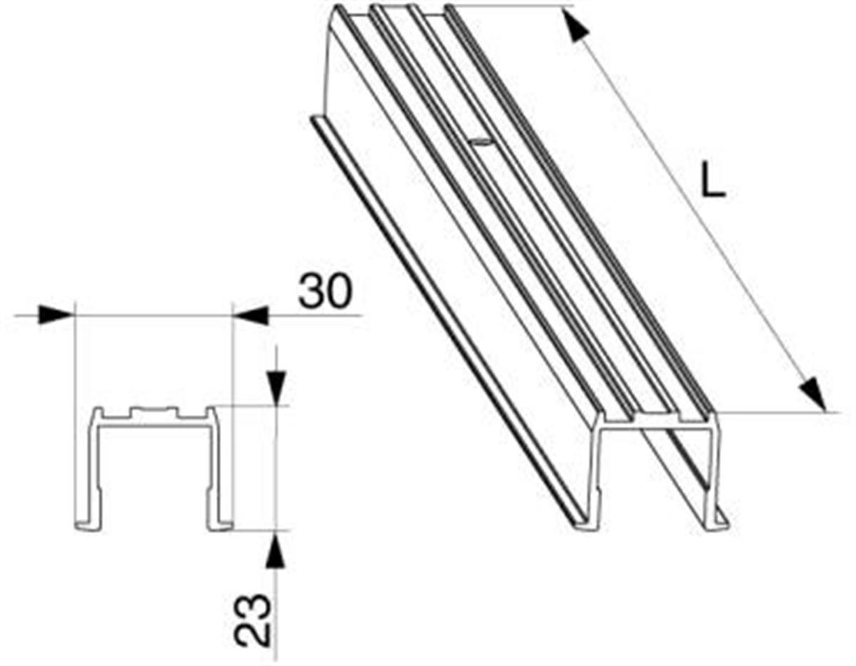 Binario guida superiore HS complanare L=6.500mm ar